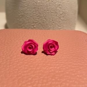 Pink Polymer Clay Rose Earring Studs